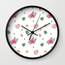 Pretty Pink Tropical Flower Patten Wall Clock