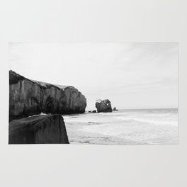 Black and White Dunedin beach - New Zealand Rug