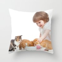 child Throw Pillows featuring Child by iD70my