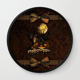 Halloween, funny pumpkin with owl Wall Clock
