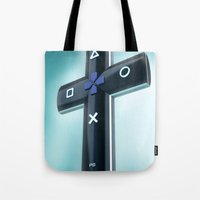 religion Tote Bags featuring Game religion by Dmitriy Turovskiy (pushok12)