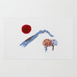 Mountain trees watercolor Rug