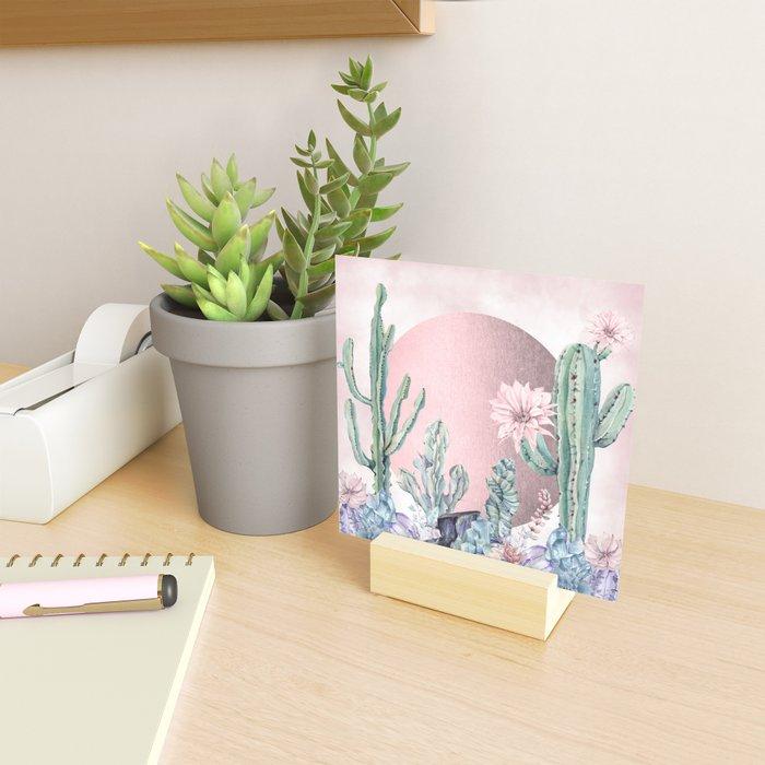 Desert Sun + Gemstones Rose Gold Pink Watercolor Mini Art Print