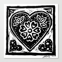 Heart Lino Print made with love Canvas Print
