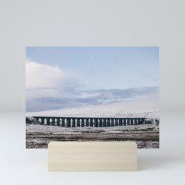 Snow and Moon over the Ribblehead Viaduct. Settle to Carlisle Railway, North Yorkshire, UK. Mini Art Print
