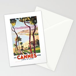 1938 France Cannes Cote D'Azur Travel Poster Stationery Cards