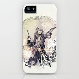 Jack Sparrow with double pistols iPhone Case
