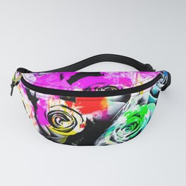 rose texture abstract  with colorful painting abstract background in pink blue green red yellow Fanny Pack