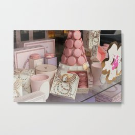 Pink macarons at Laduree Paris Metal Print