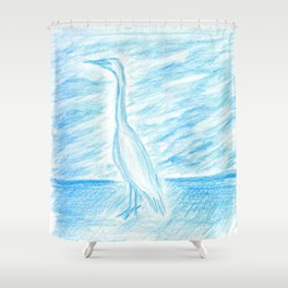 Egret, Treasure Island Shower Curtain