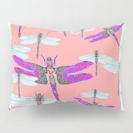 PURPLE  & GOSSAMER WHITE  DRAGONFLIES CORAL ART DESIGN  ART decor, furn Pillow Sham