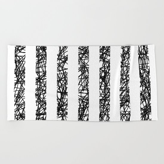 Scribble Bars - Abstract, stripy, stripey, black ink scribbles pattern, black and white Beach Towel