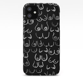 Boobs Pattern - Black and white, feminine art, lady boobs, iPhone Case