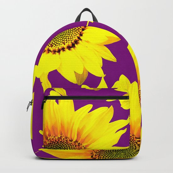 Sunflowers on a purple background - summer mood - #Society6 #buyart Backpack