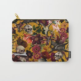 Vintage & Shabby Chic - Floral and Skull Gothic Pattern Carry-All Pouch