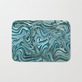 Liquid Glamour Luxury Turquoise Teal Watercolor Art Bath Mat