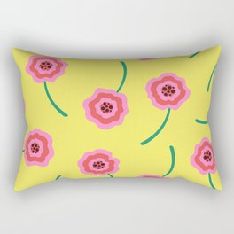 Liquid flowers pattern pink & yellow Rectangular Pillow