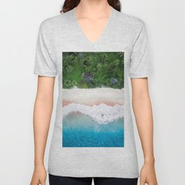 Aerial Tropical Beach Unisex V-Neck