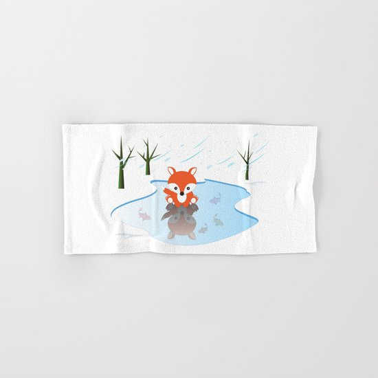 Little Fox On Ice Hand & Bath Towel