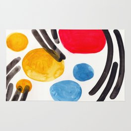 Mid Century Modern Abstract Juvenile childrens Fun Art Primary Colors Watercolor Minimalist Pop Art Rug