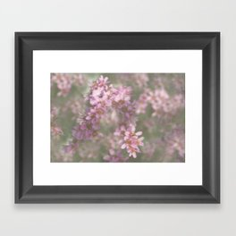 Abstract Pink and Green Flowers Framed Art Print