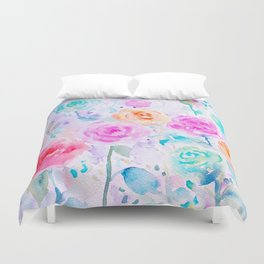 Watercolor Abstract Ranunculus Pattern Duvet Cover