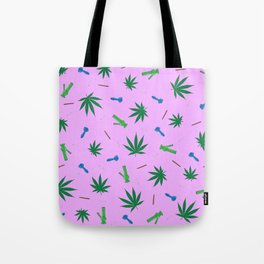 Weed Leaf, Bongs, Pipes, Joint, Blunts Pattern Tote Bag