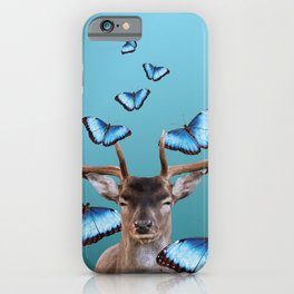 Deer Head with blue morph butterflies around iPhone Case