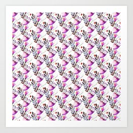 Chic purple pink hand painted floral pattern Art Print