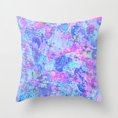 TIME FOR BUBBLY, AGAIN - Pastel Turquoise Baby Blue Purple Pink Feminine Bubbles Abstract Painting Throw Pillow