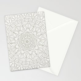 Gray Circle of Life Mandala on White Stationery Cards