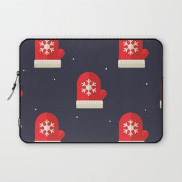 Red Christmas Gloves Pattern Laptop Sleeve