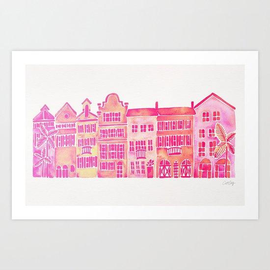 Tropical Homes – Pink Ombré Art Print
