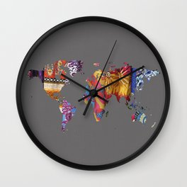 World Map Textile 1 Wall Clock