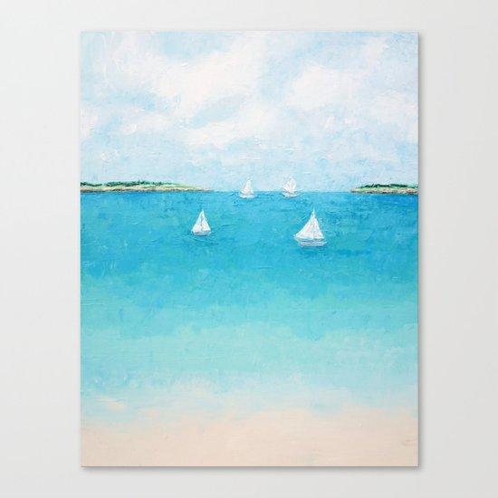 Baby Beach Sailboats Canvas Print