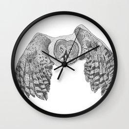 Flying Great Grey Owl Wall Clock