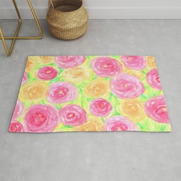 Peonies in Pink and Peach Rug