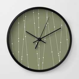 Contemporary Intersecting Vertical Lines in Sage Green Wall Clock