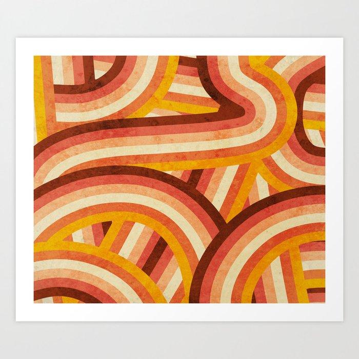 Vintage Orange 70's Style Rainbow Stripes Kunstdrucke