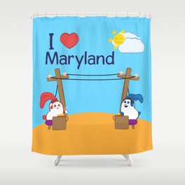Ernest and Coraline | I love Maryland Shower Curtain