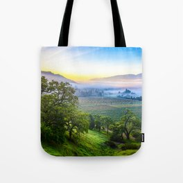 First Light Over Misty Napa Valley Tote Bag