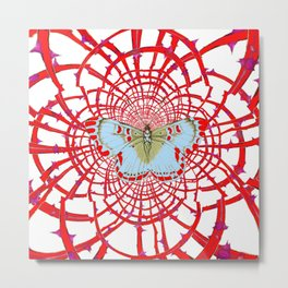 ARTISTIC RED-WHITE BUTTERFLY DREAM CATCHER WEB Metal Print