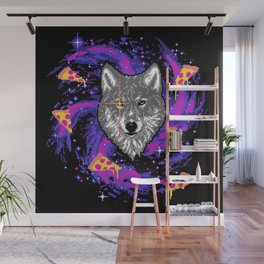 Galactic Pizza Wolf Wall Mural