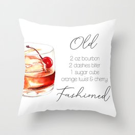 Cocktail Recipe. Old Fashioned. Throw Pillow