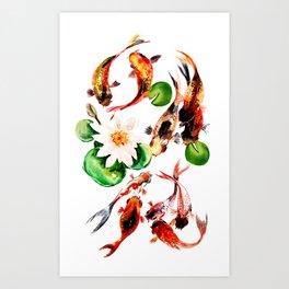 Koi Fish in Pond, Feng Shui Art Print