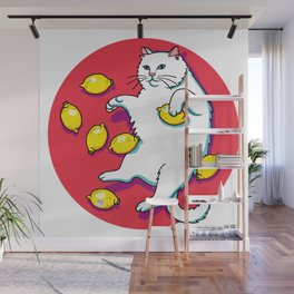 White Cat With Lemons Wall Mural