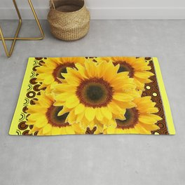 DECORATIVE DECO BROWN & YELLOW SUNFLOWERS DESIGN Rug