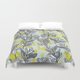 Leaf and Berry Sketch Pattern in Mustard and Ash Duvet Cover