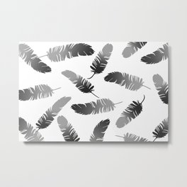 Feather Design black and white Metal Print