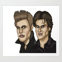 vampire diaries Art Prints featuring Damon & Stefan Salvatore The Vampire Diaries Caricature Cartoon by GinjaNinja1801